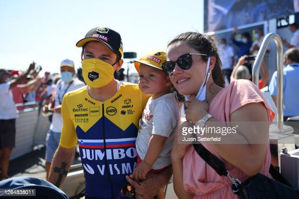 Primoz Roglic of Slovenia and Team Jumbo - Visma Yellow Leader Jersey with his wife Lora Klinc and son Levom / Celebration / during the 32nd Tour de...
