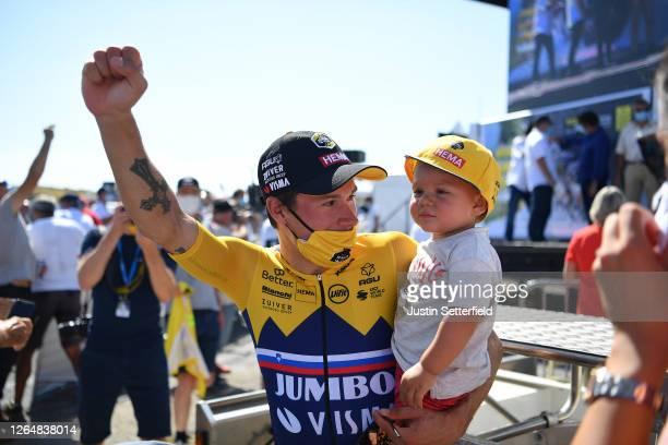 Primoz Roglic of Slovenia and Team Jumbo - Visma Yellow Leader Jersey and his son Levom / Celebration / during the 32nd Tour de L'Ain 2020, Stage 3 a...