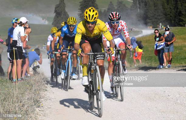 Primoz Roglic of Slovenia and Team Jumbo - Visma Yellow Leader Jersey / Tadej Pogacar of Slovenia and UAE Team Emirates Polka Dot Mountain Jersey /...
