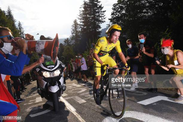 Primoz Roglic of Slovenia and Team Jumbo - Visma Yellow Leader Jersey / Public / Fans / during the 107th Tour de France 2020, Stage 20 a 36,2km...