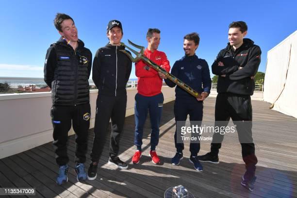 Primoz Roglic of Slovenia and Team Jumbo-Visma / Geraint Thomas of United Kingdom and Team Team Sky / Vincenzo Nibali of Italy and Team...