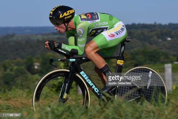 Primoz Roglic of Slovenia and Team JumboVisma Green Points Jersey / during the 74th Tour of Spain 2019 Stage 10 a 362 Individual Time Trial stage...