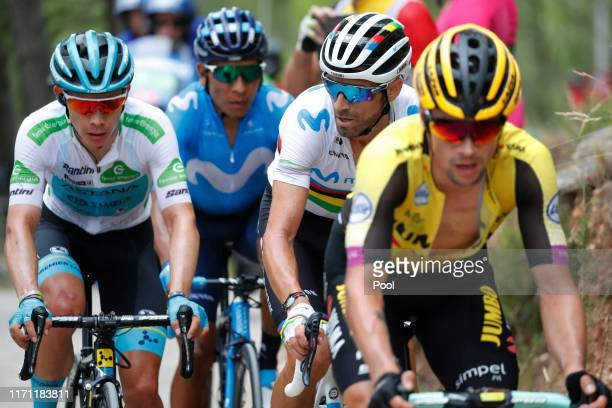 Primoz Roglic of Slovenia and Team JumboVisma / Miguel Angel Lopez of Colombia and Astana Pro Team White Best Young Rider Jersey / Nairo Quintana of...