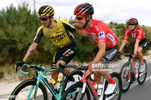 Primoz Roglic of Slovenia and Team Jumbo-Visma / Nicolas Roche of Ireland and Team Sunweb Red Leader Jersey / Michael Storer of Australia and Team...
