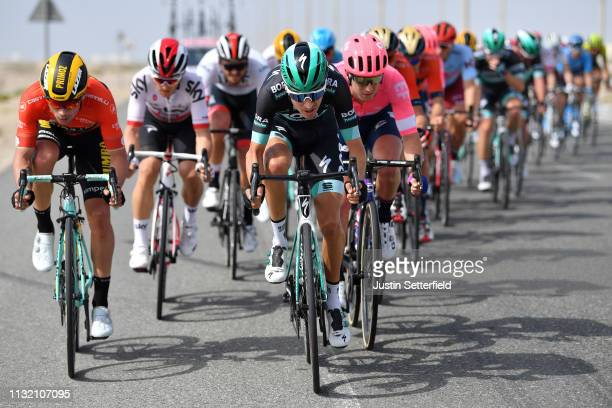 Primoz Roglic of Slovenia and Team JumboVisma Red Leader Jersey / Emanuel Buchmann of Germany and Team BoraHansgrohe / during the 5th UAE Tour 2019...