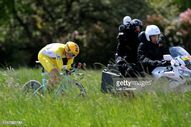 Primoz Roglic of Slovenia and Team JumboVisma Yellow Leader Jersey / during the 73rd Tour de Romandie 2019 Stage 5 a 169km Individual Time Trial from...