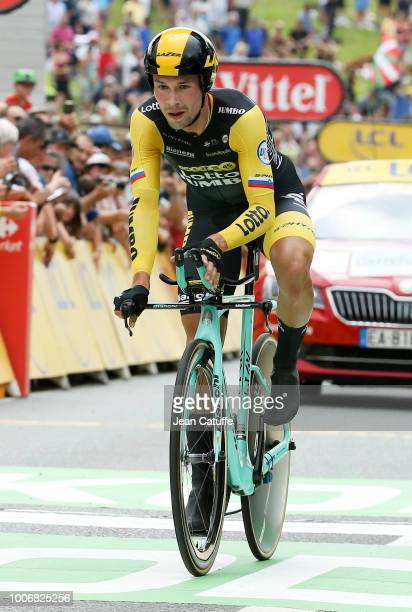 Primoz Roglic of Slovenia and Team Lotto NL Jumbo finishing stage 20 of Le Tour de France 2018 an individual time trial of 31 km between...