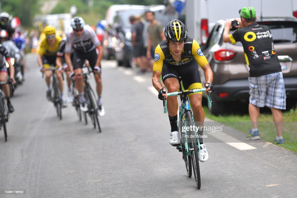 Primoz Roglic of Slovenia and Team LottoNL - Jumbo / Christopher Froome of Great Britain and Team Sky / Geraint Thomas of Great Britain and Team Sky Yellow Leader Jersey / during the 105th Tour de France 2018, Stage 19 a 200,5km stage from Lourdes to Laruns / TDF / on July 27, 2018 in Laruns, France.