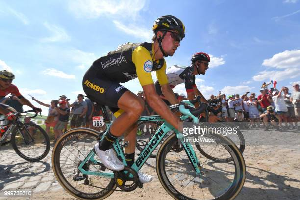 Primoz Roglic of Slovenia and Team LottoNL Jumbo / during the 105th Tour de France 2018 Stage 9 a 1565 stage from Arras Citadelle to Roubaix on July...