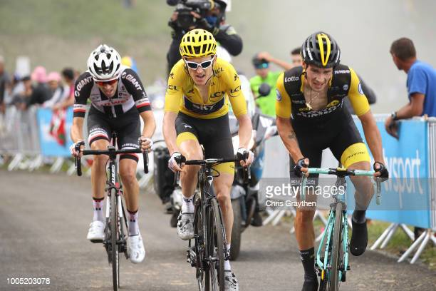 Primoz Roglic of Slovenia and Team LottoNL Jumbo / Geraint Thomas of Great Britain and Team Sky Yellow Leader Jersey / Tom Dumoulin of The...