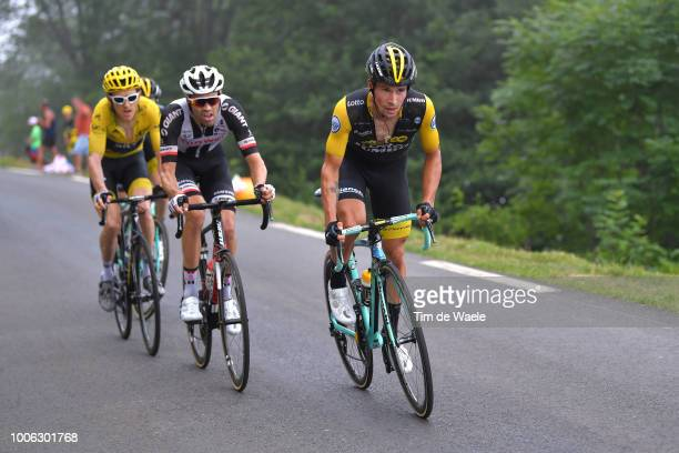 Primoz Roglic of Slovenia and Team LottoNL Jumbo / Tom Dumoulin of The Netherlands and Team Sunweb / Geraint Thomas of Great Britain and Team Sky...