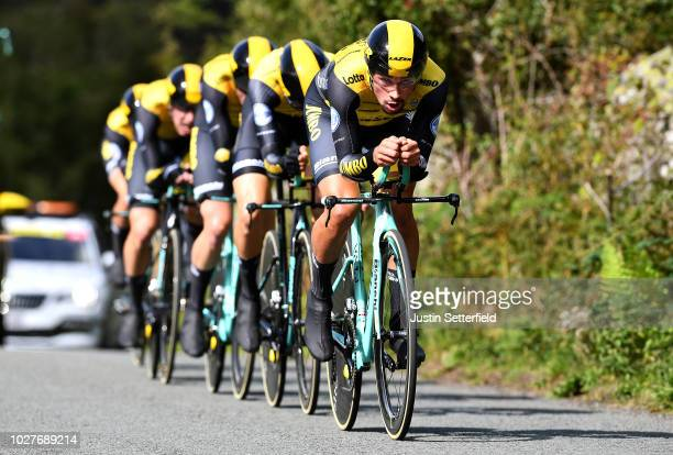 Primoz Roglic of Slovenia and Team LottoNLJumbo / during the 15th Tour of Britain 2018 Stage 5 a 14km Team Time Trial from Cockermouth to Keswick...