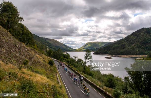Primoz Roglic of Slovenia and Team LottoNL-Jumbo Green Leader Jersey / Bob Jungels of Luxembourg and Team Quick-Step Floors / Thirlmere Lake /...