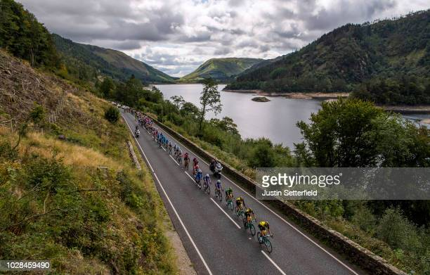 Primoz Roglic of Slovenia and Team LottoNLJumbo Green Leader Jersey / Bob Jungels of Luxembourg and Team QuickStep Floors / Thirlmere Lake / Peloton...