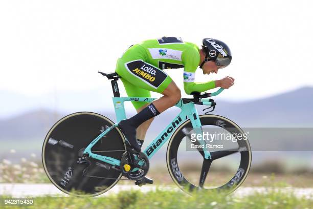 Primoz Roglic of Slovenia and Team LottoNLJumbo Green Points Jersey / during the 58th Vuelta Pais Vasco 2018 Stage 4 a 194km individual time trial...