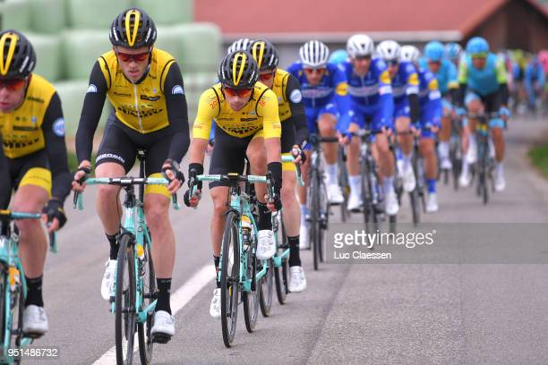 Primoz Roglic of Slovenia and Team LottoNLJumbo Yellow Leader Jersey / during the 72nd Tour de Romandie 2018 Stage 2 a 1739km stage from Delemont to...