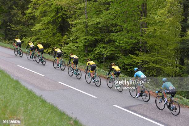 Primoz Roglic of Slovenia and Team LottoNLJumbo Yellow Leader Jersey / Peloton / during the 72nd Tour de Romandie 2018 Stage 2 a 1739km stage from...