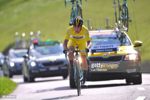 Primoz Roglic of Slovenia and Team LottoNLJumbo Yellow Leader Jersey / during the 72nd Tour de Romandie 2018 Stage 3 a 99km individual time trial...