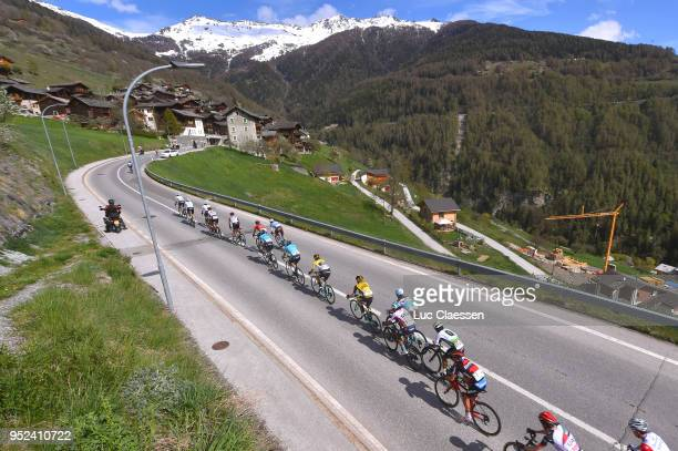 Primoz Roglic of Slovenia and Team LottoNLJumbo Yellow Leader Jersey / Landscape / Peloton / during the 72nd Tour de Romandie 2018 Stage 4 a 1492km...