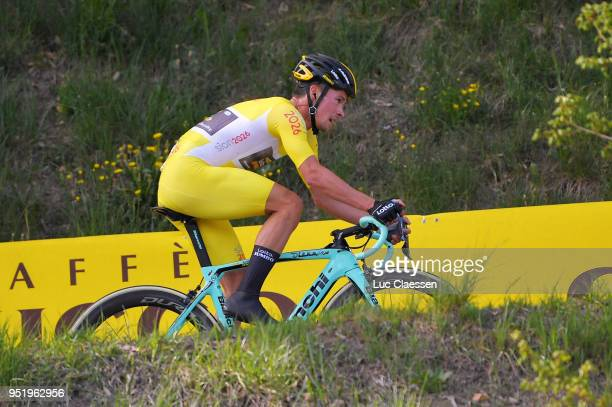 Primoz Roglic of Slovenia and Team LottoNLJumbo / Yellow leaders jersey / during the 72nd Tour de Romandie 2018 Stage 3 a 99km individual time trial...