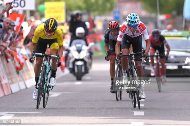 Primoz Roglic of Slovenia and Team LottoNLJumbo / Yellow leaders jersey / Egan Arley Bernal Gomez of Colombia and Team Sky White Best Young Rider...