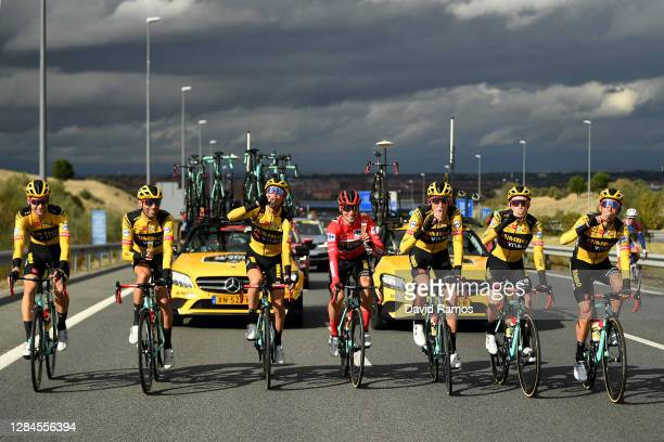 Primoz Roglic of Slovenia Red Leader Jersey, George Bennett of New Zealand, Robert Gesink of The Netherlands, Lennard Hofstede of The Netherlands,...