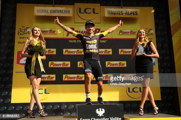 Primoz Roglic of Slovenia riding for Team Lotto NLJumbo poses for a photo on the podium after winning stage 17 of the 2017 Le Tour de France a 183km...