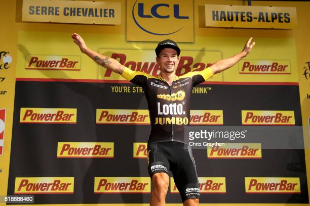 Primoz Roglic of Slovenia riding for Team Lotto NL-Jumbo poses for a photo on the podium after winning stage 17 of the 2017 Le Tour de France, a...