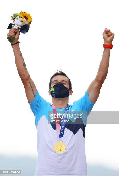 Primoz Roglic of Team Slovenia poses with the gold medal after the Men's Individual time trial on day five of the Tokyo 2020 Olympic Games at Fuji...