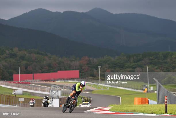 Primoz Roglic of Team Slovenia rides during the Men's Individual time trial on day five of the Tokyo 2020 Olympic Games at Fuji International...