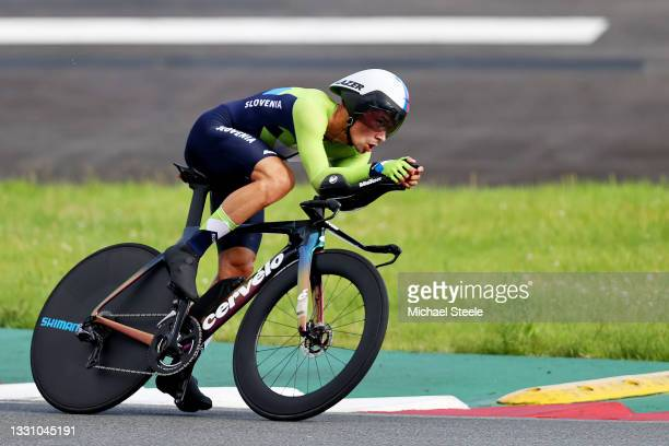 Primoz Roglic of Team Slovenia rides e during the Men's Individual time trial on day five of the Tokyo 2020 Olympic Games at Fuji International...