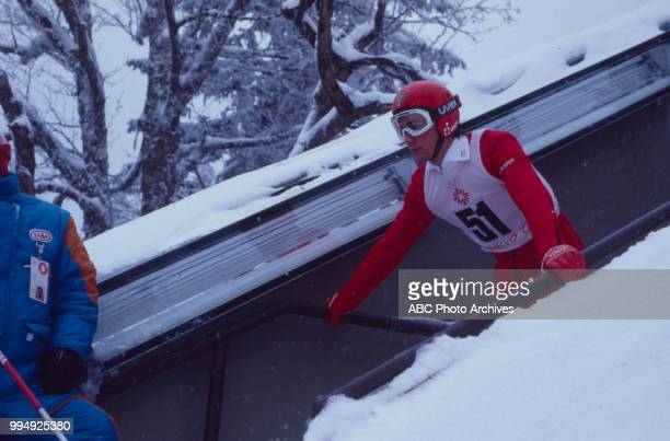 Primoz Ulaga competing in the 70 meter ski jump at the 1984 Winter Olympics / XIV Olympic Winter Games Igman Olympic Jumps