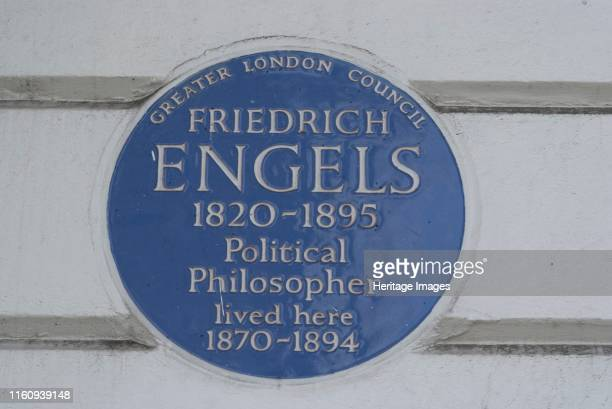Primrose Hill Blue plaque commemorating the residence of Fredrich Engels the 19th century German Socialist philospher and collaborator with Karl Marx...