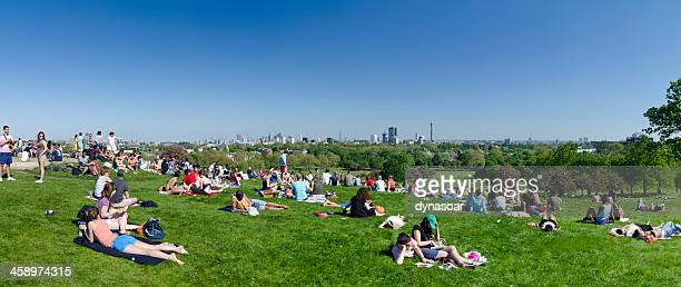 primrose hill overlooking london - southwark stock pictures, royalty-free photos & images