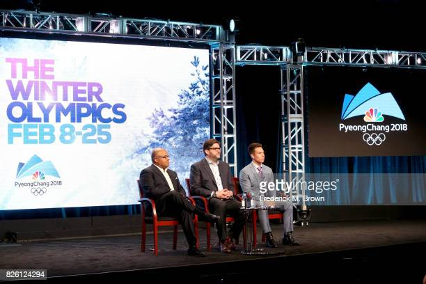 Primtetime Host Mike Tirico, President, NBC Olympics Production and Programming, Jim Bell, and Short Track Speed Skating Analyst Apolo Ohno of ''The...