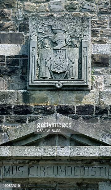 Primus circumdedisti me detail of a decorative relief from the Monument to Juan Sebastian Elcano Guetaria Basque Country Spain 20th century