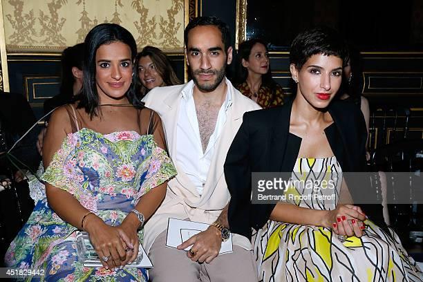 Prince Abdulla al Khalifa his sister Princess Mneera al Khalifa and Deena Al Juhani Abdulaziz attend the Alexis Mabille show as part of Paris Fashion...