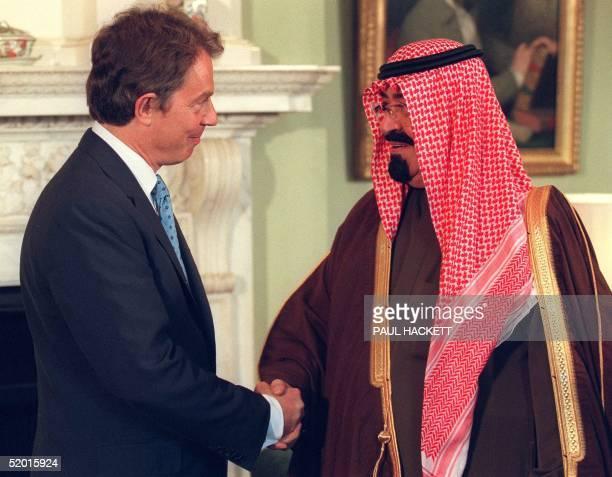 Prince Abdullah Bin Abdul Aziz Al Saud of Saudi Arabia shakes hands with British Prime Minister Tony Blair at Downing Street 15 September The Crown...
