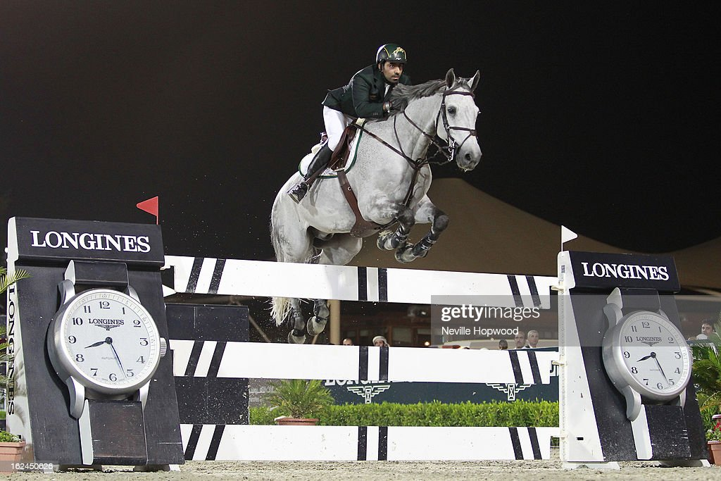 Prince Abdullah Bin Meteb Al Saud of Saudi Arabia rides Davos during the President of the UAE Showjumping Cup - Furusiyyah Nations Cup Series presented by Longines on February 23, 2013 in Al Ain, United Arab Emirates.