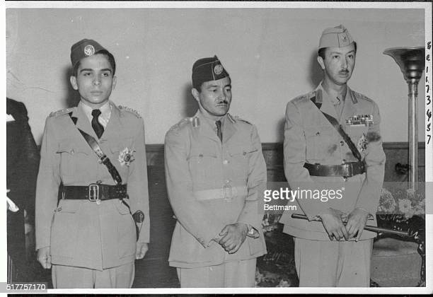 Prince Abdullah Regent of Iraq Prince Naif appointed Regent of Jordan and Prince Houssein in their military uniform They are standing at attention