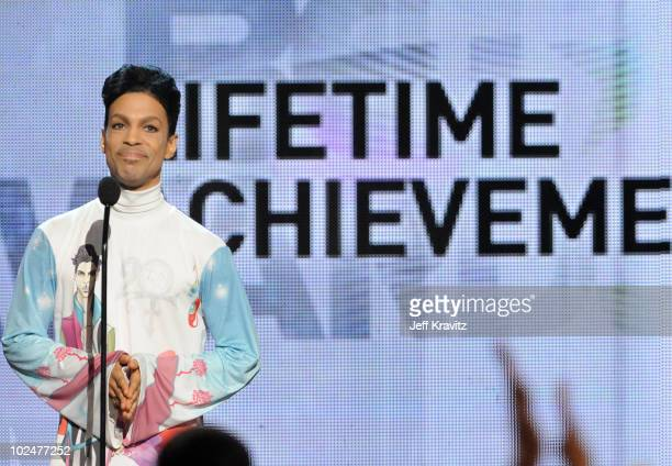 Prince accepting the Lifetime Achievement award onstage during the 2010 BET Awards held at the Shrine Auditorium on June 27 2010 in Los Angeles...