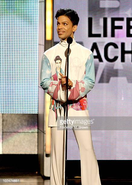 Prince accepts the Lifetime Acheivment Award onstage during the 2010 BET Awards held at the Shrine Auditorium on June 27 2010 in Los Angeles...