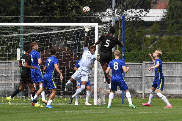Prince Adegoke of Chelsea makes a save during the Chelsea v West Bromwich Albion U18 Premiere League match on August 14th, 2021 in Cobham, England.