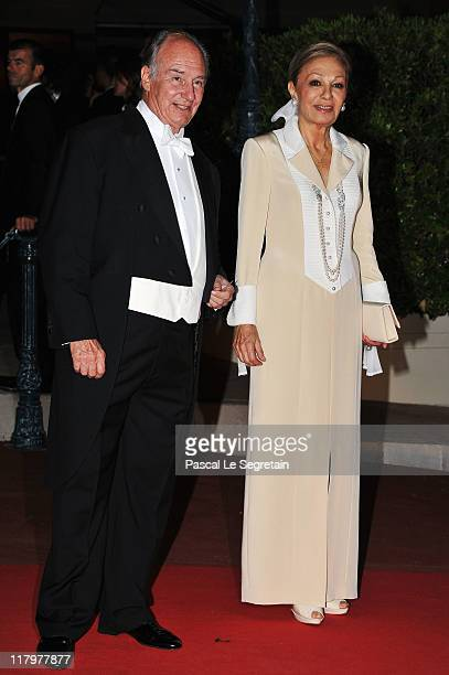 Prince Aga Khan attend a dinner at Opera terraces after the religious wedding ceremony of Prince Albert II of Monaco and Princess Charlene of Monaco...