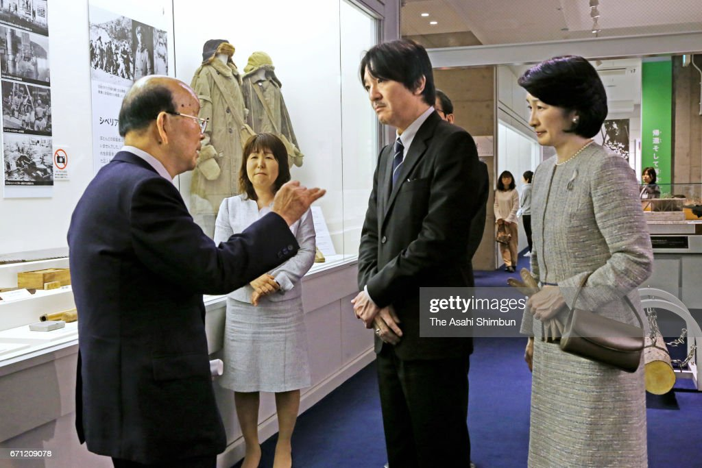 Prince Akihisno (2nd R) and Princess Kiko of Akishino (1st R) visit the Maizuru Repatriation Memorial Museum on April 21, 2017 in Maizuru, Kyoto, Japan.
