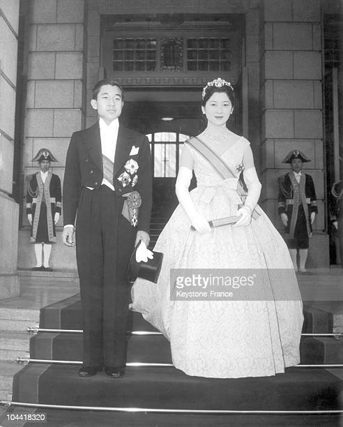 Prince AKIHITO heir to Japan's imperial crown and his wife MICHIKO after their wedding at the Imperial Palace of Tokyo on April 10 1959
