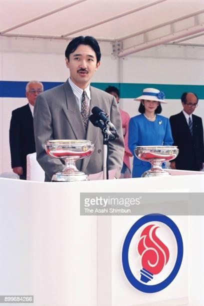 Prince Akishino addresses while Princess Kiko of Akishino listens during the opening ceremony of the national sports festival at the Yonezawa City...