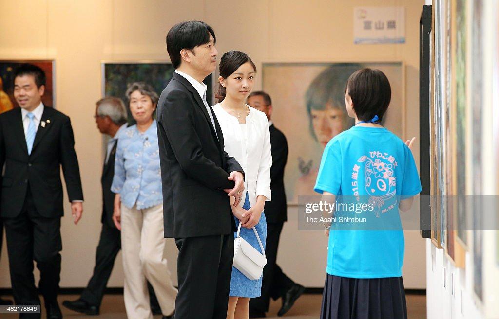 Prince Akishino And Princess Kako Visit Inter-High School Cultural Festival