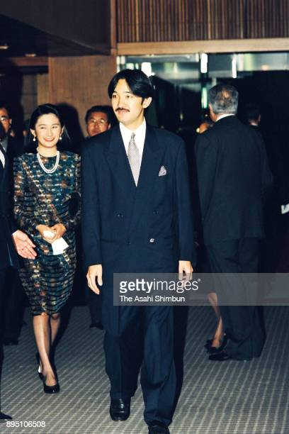 Prince Akishino and Princess Kiko of Akishino are escorted by Portugal President Mario Soares prior to the reception on October 20 1993 in Tokyo Japan