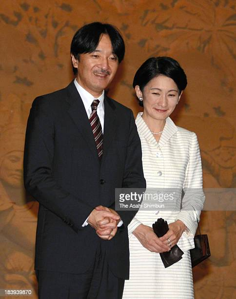 Prince Akishino and Princess Kiko of Akishino are seen during their visit to the Sand Museum on October 9 2013 in Tottori Japan